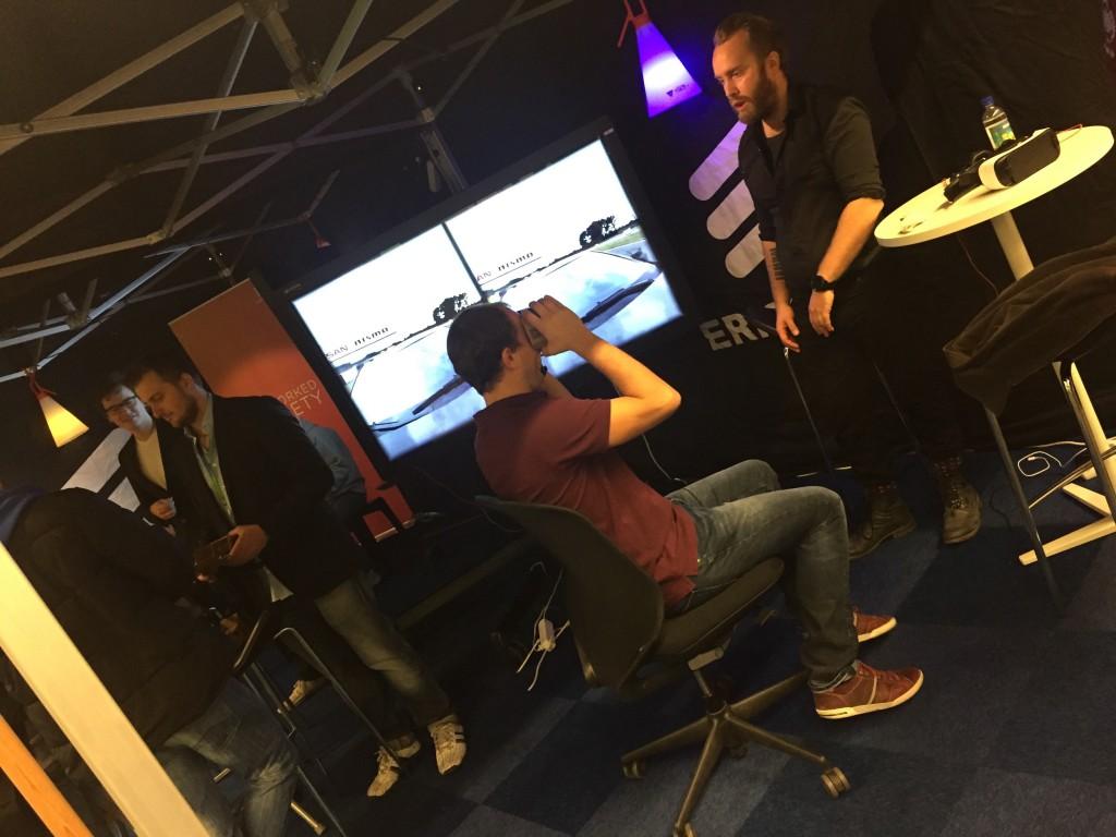 Sebastian Sjöberg of 10X Labs immersing visitors in VR.