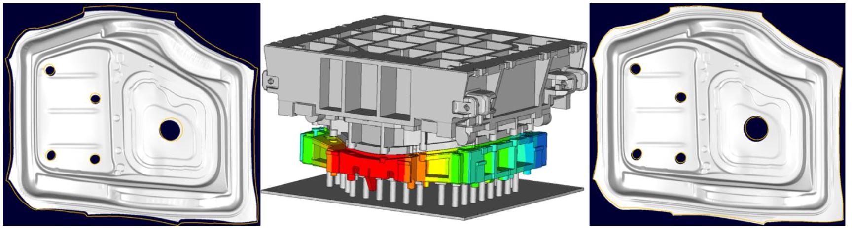 Strukturmodell av pressverktyg (mitten). Skillnad mot uppmätta detaljkonturer, orangea linjer, med odeformerat verktyg (vänster) och deformerat verktyg (höger)