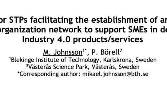 Key factors for STPs facilitating the establishment of an innovation-advising organization network to support SMEs in developing Industry 4.0 products/services