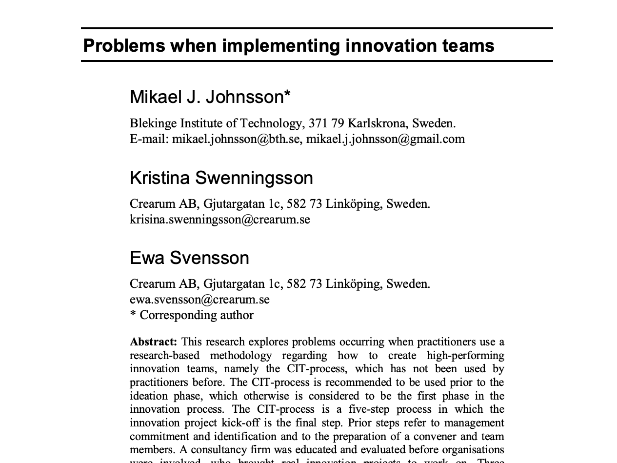 Problems when creating innovation teams