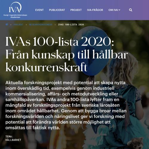 Produktutvecklingsforskningen med på IVA's 100-lista 2020!