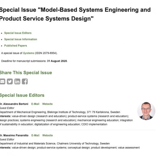 "Special Issue ""Model-Based Systems Engineering and Product Service Systems Design"""