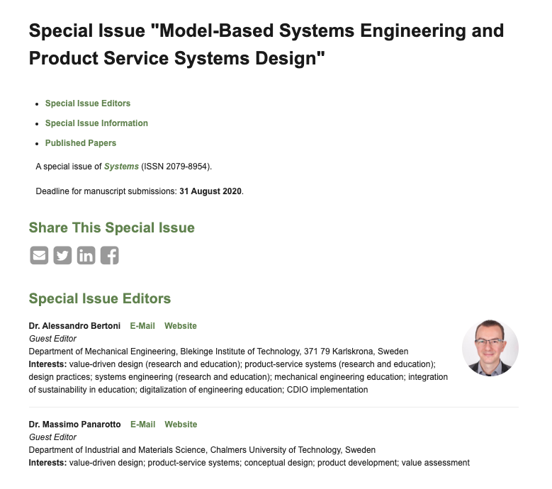Special Issue Model Based Systems Engineering And Product Service Systems Design Product Development Research Lab