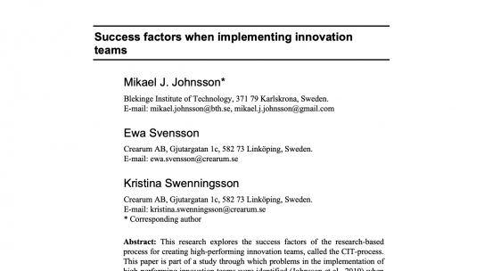 Success factors when implementing innovation teams