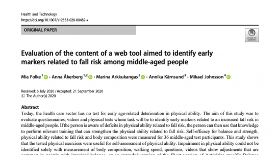 Evaluation of the content of a web tool aimed to identify early markers related to fall risk among middle-aged people