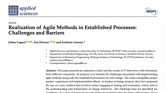 Realization of Agile Methods in Established Processes: Challenges and Barriers