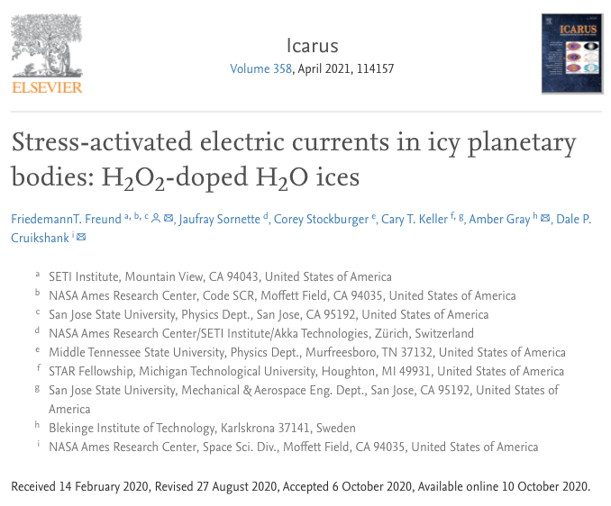 Stress-activated electric currents in icy planetary bodies: H2O2-doped H2O ices